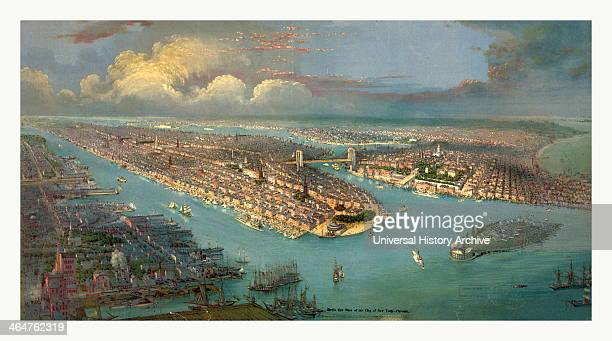 Bird's Eye View Of New York City With The Hudson River And The New Jersey Waterfront On The Left New York Harbor And Governors Island In The Right...