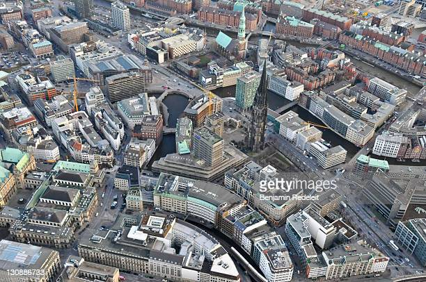 Bird's eye view of parts of the Speicherstadt district and St. Nicolas' Church in Hamburg, Germany, Europe