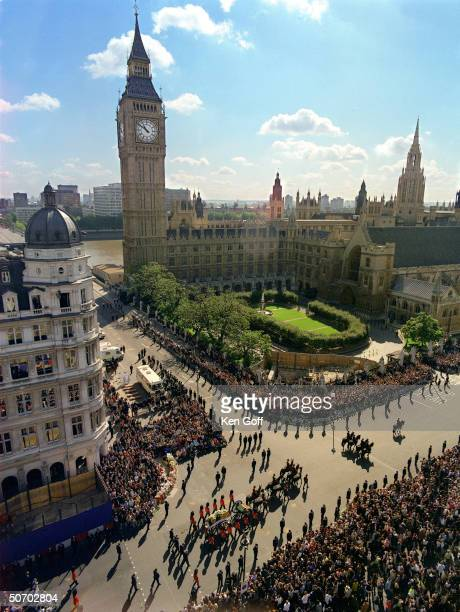 Bird's eye view of Princess Diana's funeral cortege passing by Big Ben