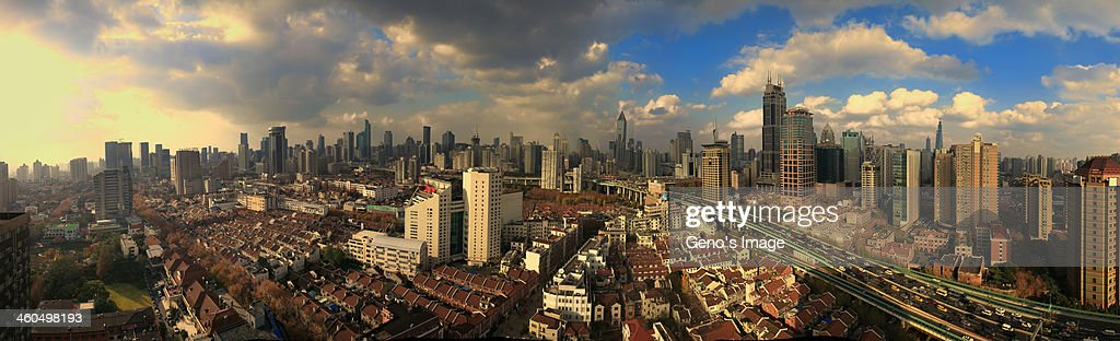 Birds' eye view of Shanghai : Stock Photo