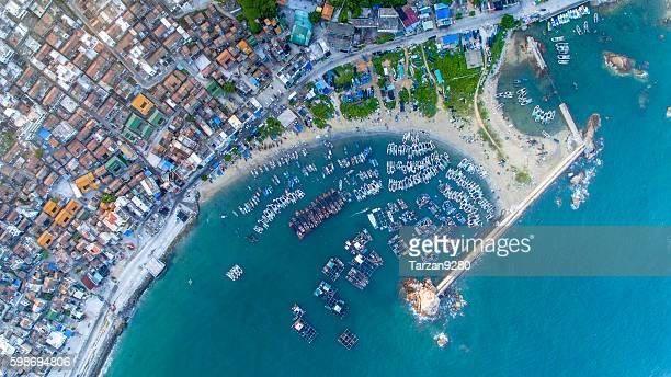 Bird's Eye view of small harbor, Guangdong, China