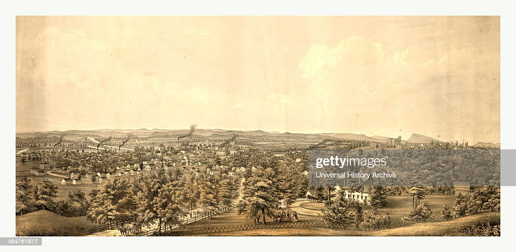 Birds Eye View Of Springfield Mass Circa 1850 Us USA America