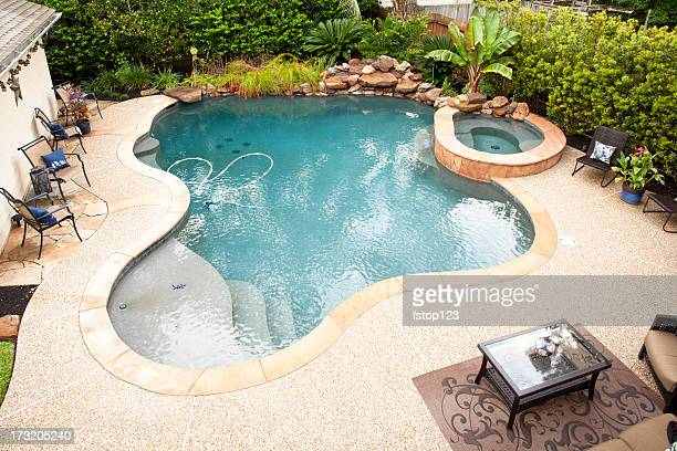 Birds eye view of swimming pool in back yard