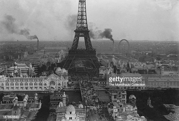 Bird's eye view of the city of Paris during the 1900 Paris exposition with the Eiffel Tower dominating the skyline France 1900
