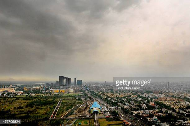 A bird's eye view of the Noida city from a building near Botanical Garden Metro station on a cloudy day on July 6 2015 in Noida India