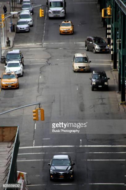 Bird's eye view of urban road in Harlem, Manhattan, New York City