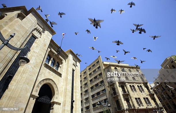 Birds fly outside the parliament building in downtown Beirut as members of parliament gather to elect the new Lebanese president on April 23 2014...