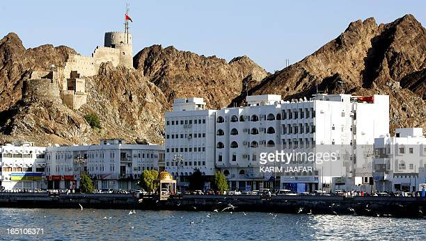 Birds fly over the water near a seaside road in the Omani capital of Muscat on January 16 2009 Oman faces Saudia Arabia tomorrow in the 19th Gulf Cup...
