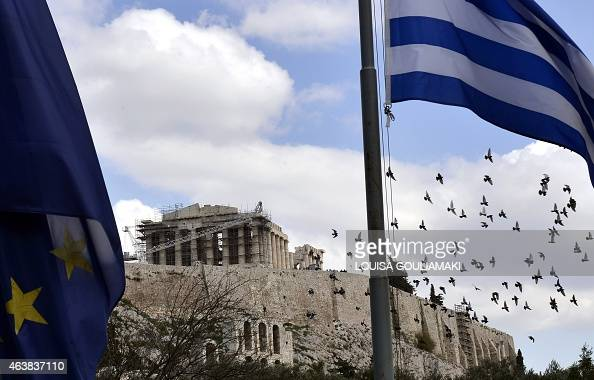 Birds fly past the Acropolis in Athens on February 19 2015 Greece asked its EU creditors for sixmonth loan assistance pledging to respect fiscal...