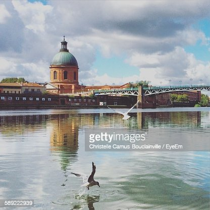 Birds Flying Over River By Buildings Against Cloudy Sky