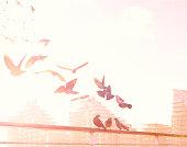 Birds flying over the River Thames
