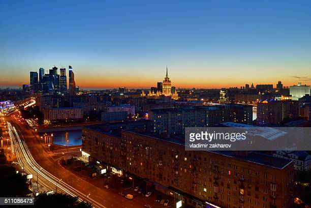 Bird's-eye view of Moscow downtown at sunset