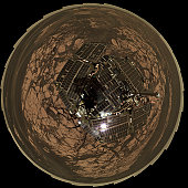 November 23 to December 5, 2005 - Bird's-Eye View of Opportunity at Erebus (Polar).  This view combines frames taken by the panoramic camera (Pancam) on NASA's Mars Exploration Rover Opportunity on th