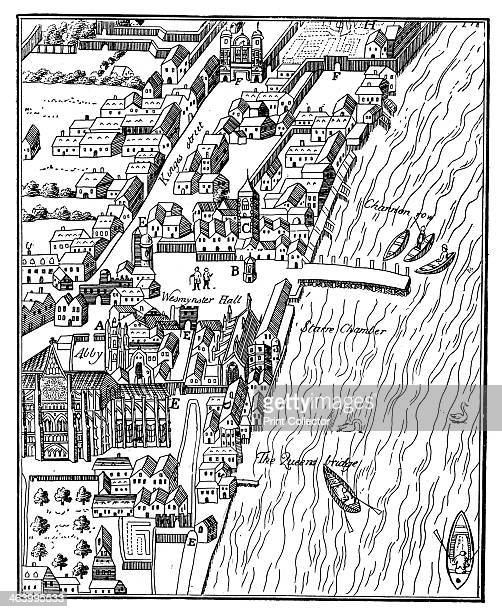 Bird'seye view of the Palace of Westminster London c1560 The parliament buildings Westminster Abbey and the River Thames 'taken from Aggas's Map of...