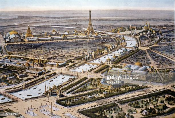 Bird'seye view of the Paris Expositon of 1900 Eiffel Tower in the background Chromolithograph