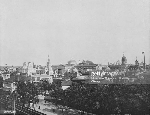 A bird'seye view of the State Buildings and the White City at the World's Columbian Exposition in Chicago Illinois 1893 This image is a part of the W...