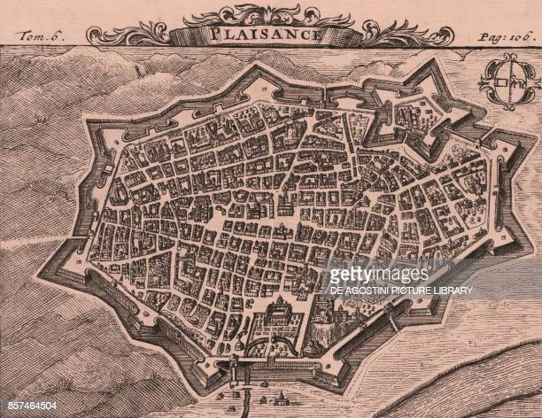 Bird'seye view of the walled town of Piacenza EmiliaRomagna Italy copper engraving ca 15x125 cm from Les delices de l'Italie qui contiennent une...