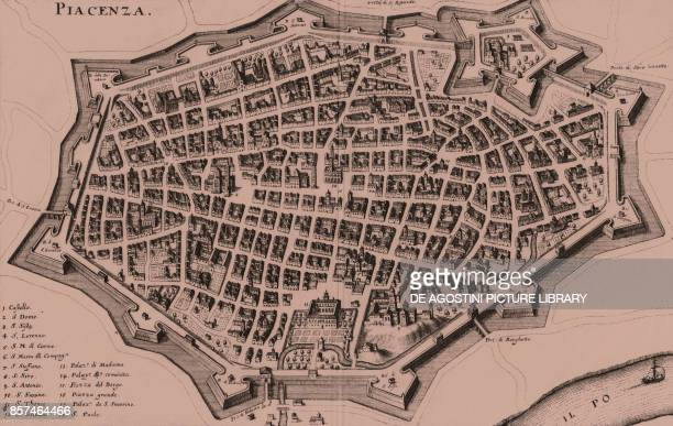Bird'seye view of the walled town of Piacenza EmiliaRomagna Italy copper engraving 345x22 cm from Topographia Italiae by Matthaeus Merian and Martin...