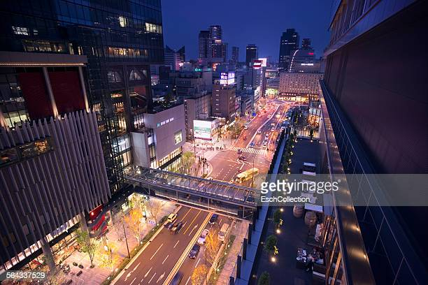 Bird's-eye view of Umeda area in Osaka at dusk