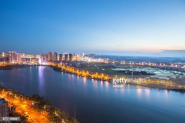Birdview of dream lake in Fuzhou city