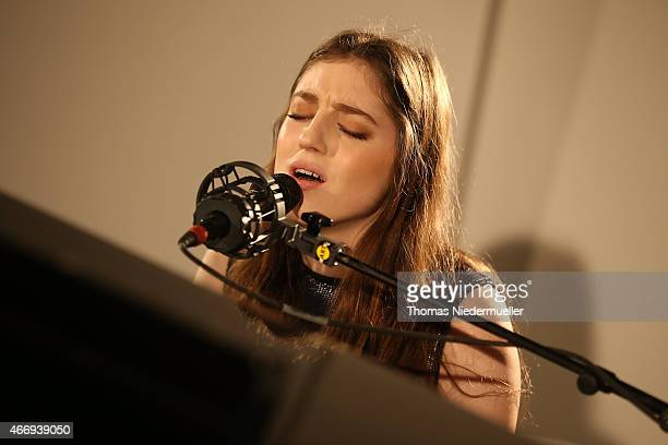 Birdy performs during a Private Dinner hosted by Calvin Klein Watches Jewelery at Brasilea Foundation on March 19 2015 in Basel Switzerland
