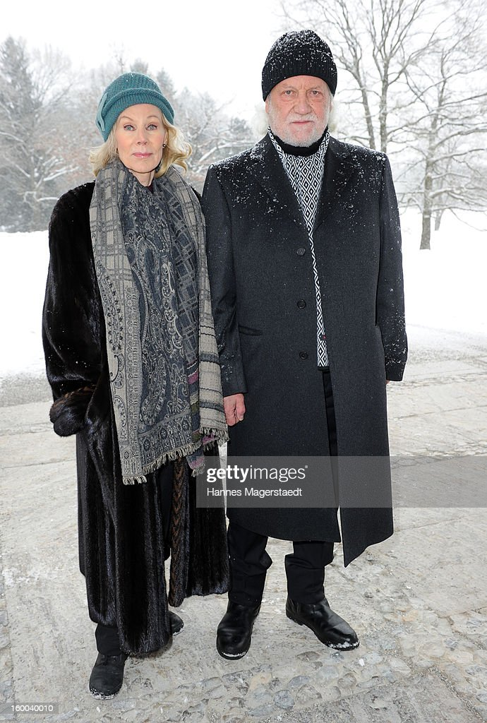 Birgit Bergen and Peter Zenk attend the memorial service for Steffen Kuchenreuther at the Waldfriedhof on January 25, 2013 in Munich, Germany.
