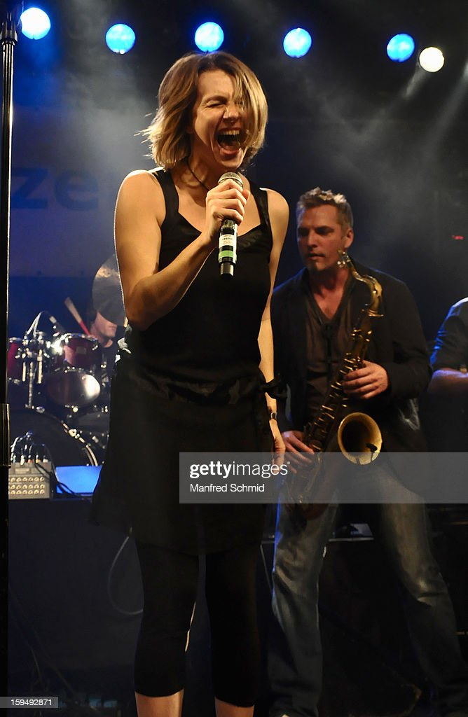 Birgit Denk performs onstage during the 'Hallucination Company plays Hansi Lang Concert' at Szene Wien on January 13, 2013 in Vienna, Austria.