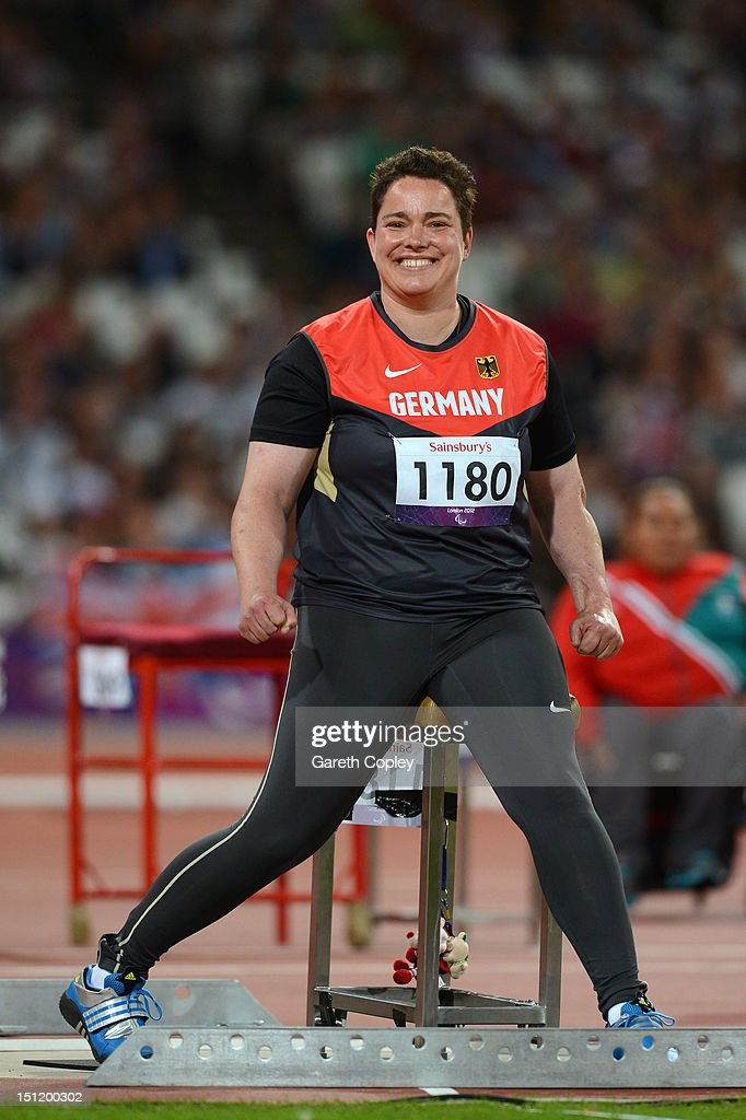 Birgit Kober of Germany celebrates as she competes in the Women's Javelin Throw - F52/53/33/34 Final on day 5 of the London 2012 Paralympic Games at Olympic Stadium on September 3, 2012 in London, England.