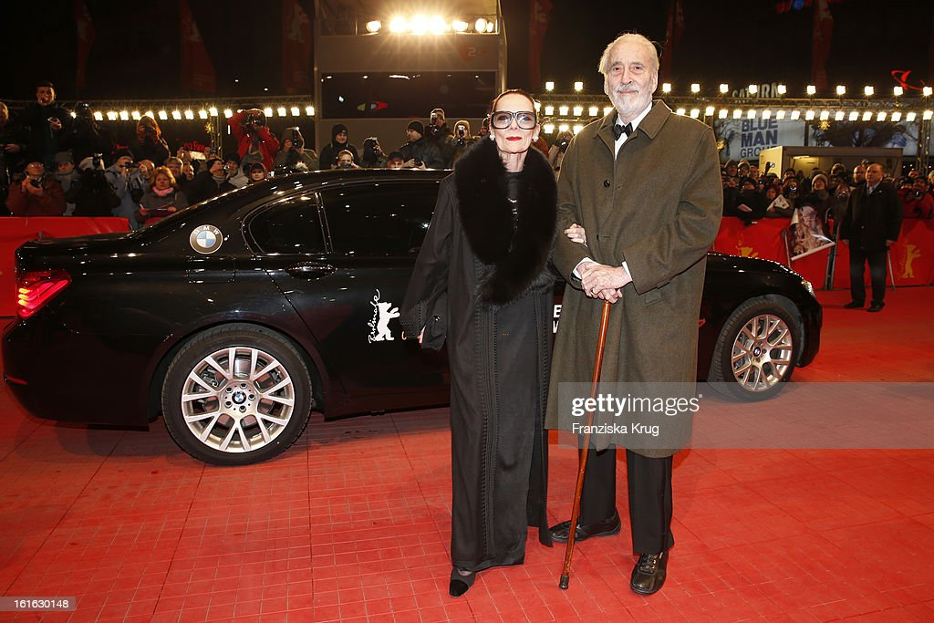 Birgit Kroencke and <a gi-track='captionPersonalityLinkClicked' href=/galleries/search?phrase=Christopher+Lee+-+Acteur&family=editorial&specificpeople=213479 ng-click='$event.stopPropagation()'>Christopher Lee</a> attend the 'Night Train To Lisbon' Premiere - BMW at the 63rd Berlinale International Film Festival at Berlinale Palast on February 13, 2013 in Berlin, Germany.