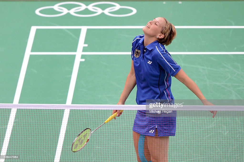 Birgit Michels of Germany reacts against Yunlei Zhao and Nan Zhang of China during their Mixed Doubles Badminton on Day 1 of the London 2012 Olympic Games at Wembley Arena on July 28, 2012 in London, England.