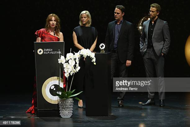 Birgit Minichmayr Anika Decker Nick Brandestini and Alexander Fehling seen onstage at the Award Night Ceremony during the Zurich Film Festival on...