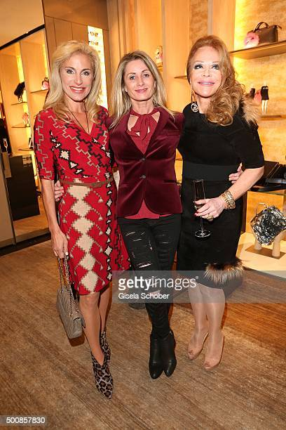 Birgit Muth Ute Bueschl and Ulrike Huebner during the Fendi christmas party on December 10 2015 in Munich Germany