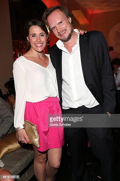 Birgit Noessing and her boyfriend Timo Petersen during the Eclat Dore summer party at Hotel Vier Jahreszeiten on July 22 2015 in Munich Germany