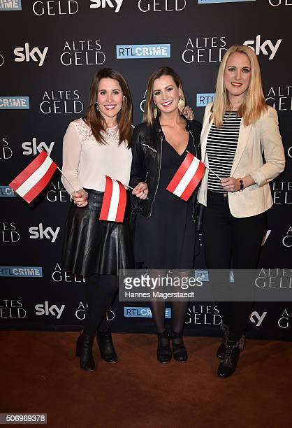 Birgit Noessing Karolin Kandler and Ruth Hofmann attend the German premiere of the tv show 'Altes Geld' at Hotel Bayerischer Hof on January 26 2016...