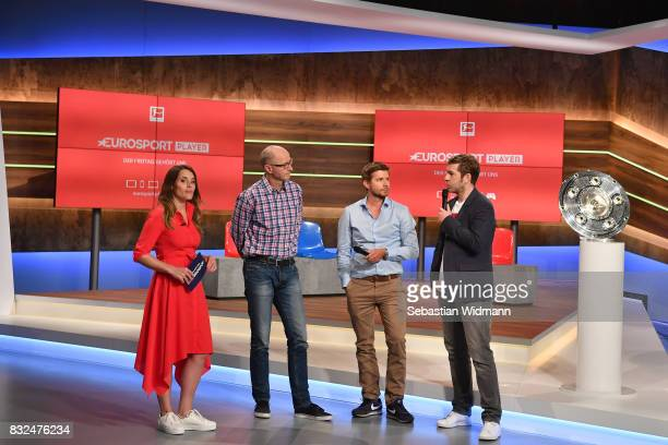 Birgit Noessing Matthias Stach Philipp Eger and Marco Hagemann talk on stage during the Eurosport Bundesliga Media Day on August 16 2017 in...
