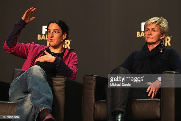 Birgit Prinz of Germany and Silvia Neid coach of Germany during the press conference ahead of the FIFA Ballon d'or Gala at the Zurich Kongresshaus on...