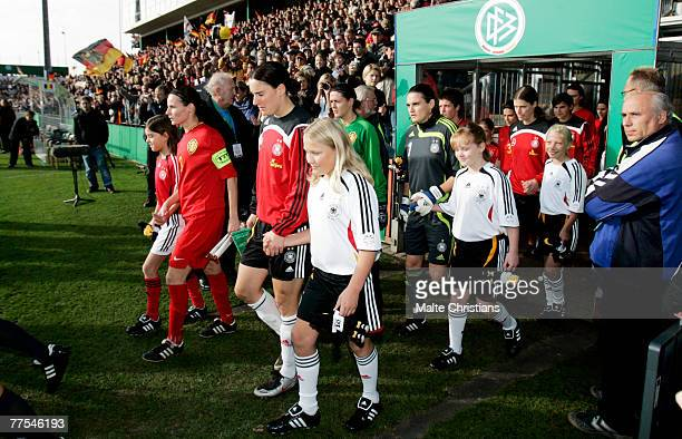 Birgit Prinz of Germany leads the team out for the UEFA Womens European Championship Qualifying match between Germany and Belgium on October 28 2007...