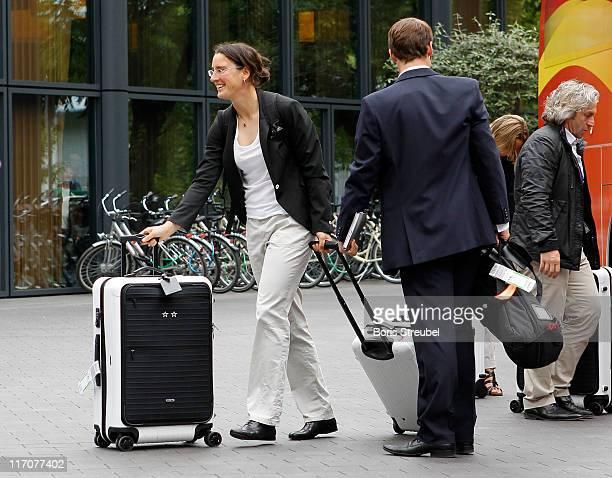 Birgit Prinz of the German Woman's National Football Team arrives at Hotel Esplanade on June 21 2011 in Berlin Germany
