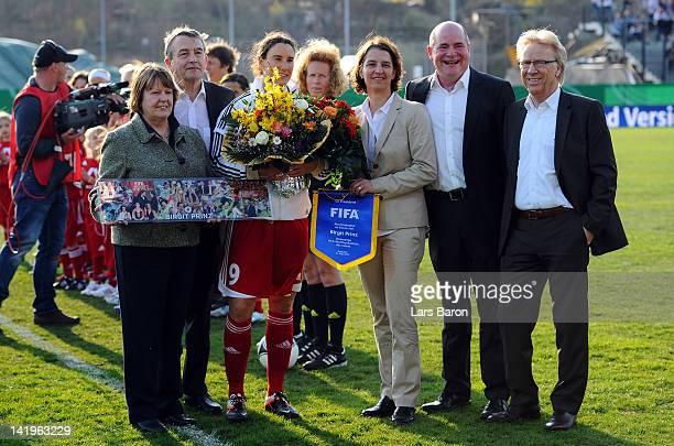 Birgit Prinz poses with Hannelore Ratzeburg Wolfgang Niersbach Tatjana Haenni of FIFA Siggi Dietrich and Bodo Adler prior to the Birgit Prinz...