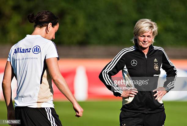 Birgit Prinz Trainerin Silvia Neid practice during the Germany Women national team training session on July 3 2011 in Duesseldorf Germany