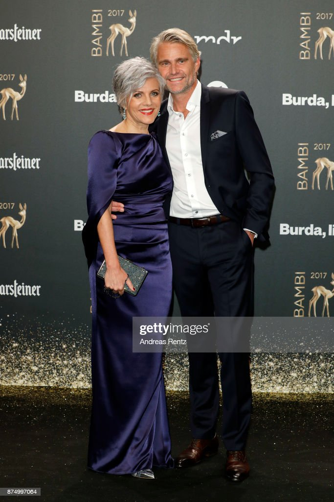 Birgit Schrowange and Frank Spothelfer arrive at the Bambi Awards 2017 at Stage Theater on November 16, 2017 in Berlin, Germany.
