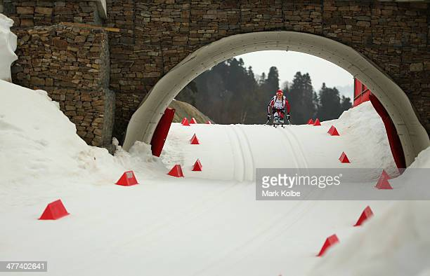 Birgit Skarstein of Norway competes in the women's 12km sitting crosscountry skiing during day two of Sochi 2014 Paralympic Winter Games at Laura...