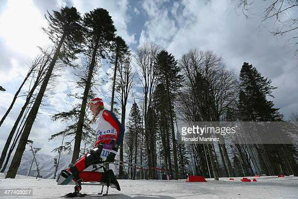 Birgit Skarstein of Norway competes in the Women's 12km Sitting CrossCountry Skiing event during day two of Sochi 2014 Paralympic Winter Games at...