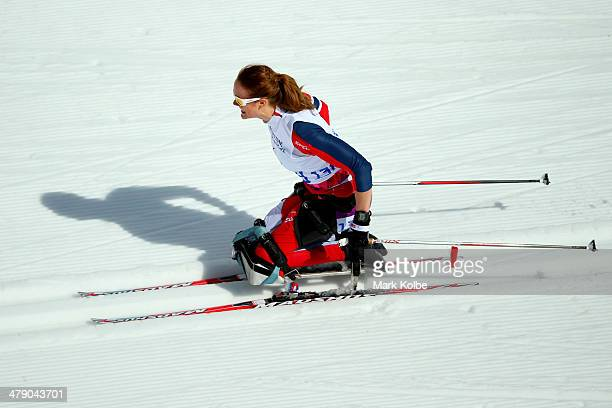 Birgit Skarstein of Norway competes in the Women's Cross Country 5km Sitting on day nine of the Sochi 2014 Paralympic Winter Games at Laura...