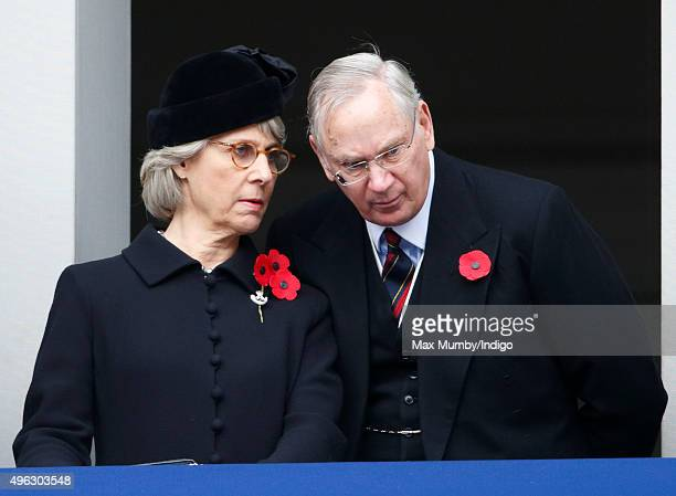 Birgitte Duchess of Gloucester and Prince Richard Duke of Gloucester attend the annual Remembrance Sunday Service at the Cenotaph on Whitehall on...