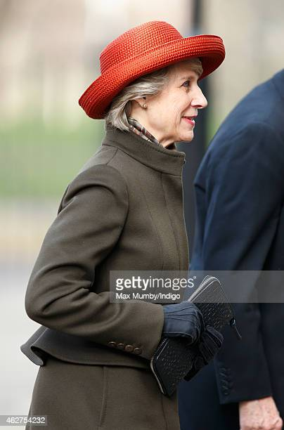 Birgitte Duchess of Gloucester attends a service of thanksgiving for the life of John SpencerChurchill 11th Duke of Marlborough at The Guards Chapel...