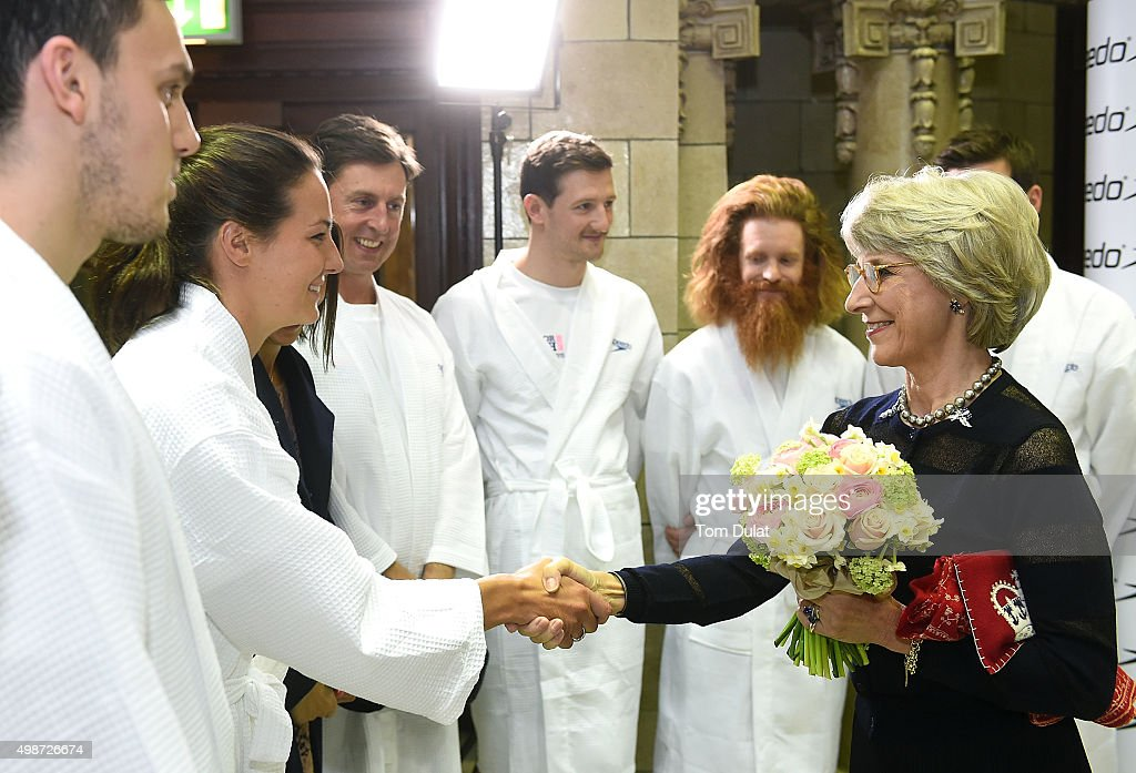 <a gi-track='captionPersonalityLinkClicked' href=/galleries/search?phrase=Birgitte+-+Duchess+of+Gloucester&family=editorial&specificpeople=4152242 ng-click='$event.stopPropagation()'>Birgitte</a>, Duchess of Gloucester greets Keri-Anne Payne during the House of Commons v House of Lords Speedo Charity Swim Gala Dinner at Porchester Hall on November 25, 2015 in London, England.