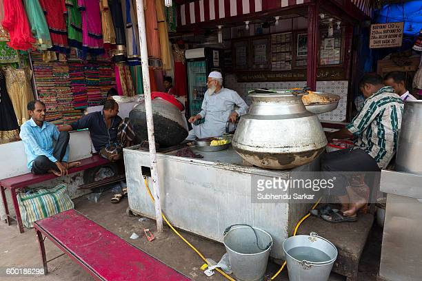 A biriyani food joint outside the Jama Masjid in the old quarters of the city
