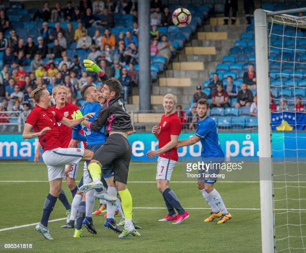 Birk Risa Morten Thorsby Henrik Bjordal of Norway during the Qualifying Round European Under 21 Championship 2019 between Norway v Kosovo at Ullevaal...