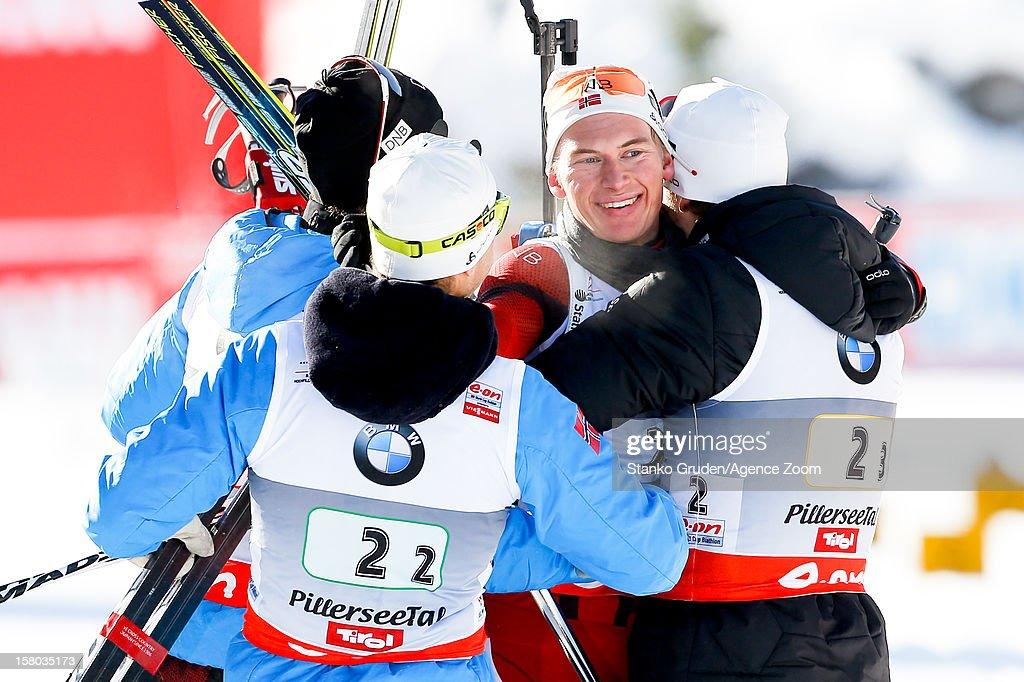 , Birkeland Lars Helge;Ole Einar Bjoerndalen;Christiansen Vetle Sjestad; L'abee-Lund Henrik take 1st place during the IBU Biathlon World Cup Men's Relay on December 09, 2012 in Hochfilzen, Austria.